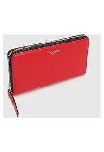 Carteira Calvin Klein Logo Metálico Vermelha