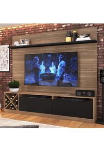 Rack Com Painel Para Tv Até 65 Polegadas 2 Portas Montana/Preto 2022 - Quiditá Móveis