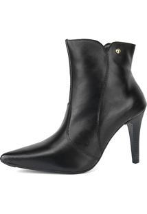 Bota Salto Agulha Miuzzi Ankle Boot Luxo Preta