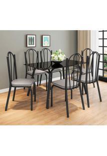 Conjunto De Mesa Com 6 Cadeiras Lotus I Preto Fosco Com Platina