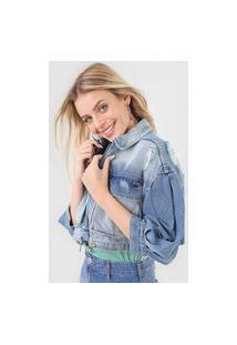 Jaqueta Cropped Jeans Colcci Destroyed Azul