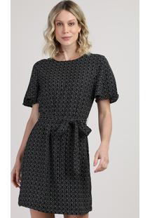 Vestido Feminino Curto Estampado Geométrico Com Faixa Para Amarrar Manga Curta Preto