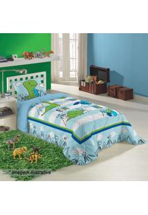 Lepper Edredom Dino Solteiro Azul Claro & Verde 150X210Cm 150 Fios