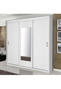 Guarda-Roupa Casal 3 Portas De Correr Com Espelho Monte Carlo Branco 100% Mdf - Gabrielli Móveis