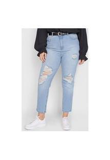 Calça Jeans Hering Mom Destroyed Azul