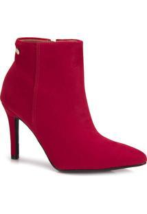 Bota Ankle Boots Vizzano Nobuck Vermelha