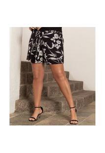 Shorts Feminino Plus Size Secret Preto