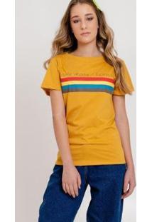 Camiseta Arco-Írissavanna Feminina - Feminino-Amarelo