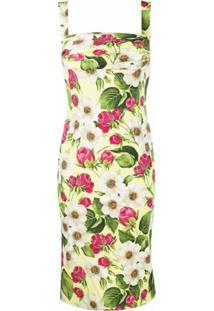 Dolce & Gabbana Vestido Midi Com Estampa De Rosa - Amarelo