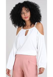 Blusa Feminina Ampla Open Shoulder Manga Longa Off White