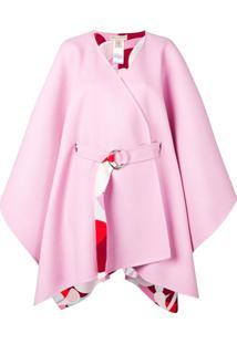 Emilio Pucci Pelerine Oversized Com Cinto - Rosa