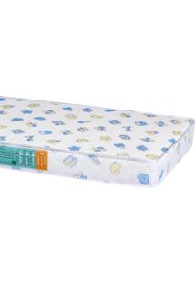 Colchão Mini Cama Pro Confort Baby D18 Azul Liso 68X150X12 Hellen