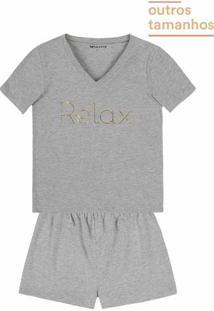 Pijama Feminino Em Malha Com Estampa Em Foil Em Outros Tamanhos