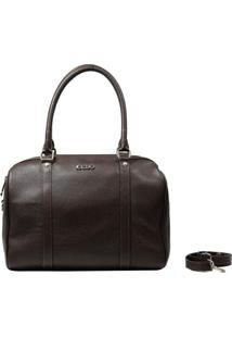Bolsa Em Couro Recuo Fashion Bag Baú Café