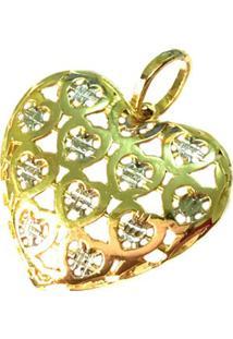 Pingente Prata Mil Coração De Ouro C/ Zircônia Ouro