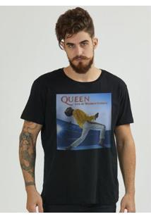 Camiseta Bandup! Queen Live At Wembley Capa - Masculino-Preto