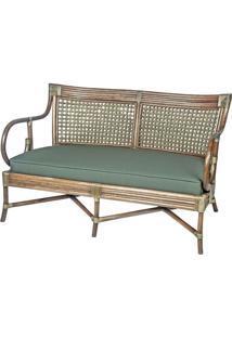 Sofa Claire 2 Lugares Assento Linho Acrilico Cor Verde Com Base Madeira Apui - 44783 - Sun House