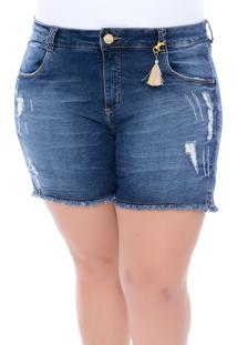 Bermuda Jeans Legítima Defesa Plus Size Pingente Azul