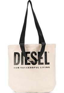 Diesel Logo Print Canvas Shopper Tote - Neutro