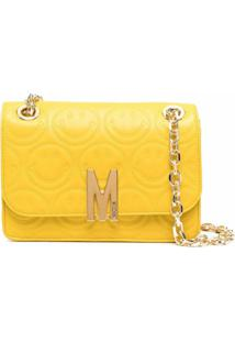 Moschino M Smiley Face Quilted Crossbody Bag - Amarelo