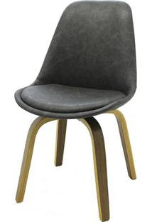 Cadeira Lis Eames Revestida Pu Cinza Base Madeira Mescla - 53303 - Sun House