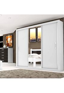 Guarda Roupa Casal Com Espelho 3 Portas De Correr Lara Espresso Móveis Branco