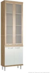 Cristaleira 4 Portas 5121 Sicília Com Vidro 231,5 X 70 X 32 Argila/Branco Texturizado - Multimoveis