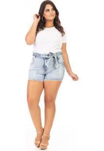 Shorts Clochard Com Cinto Plus Size Confidencial Extra Feminino - Feminino-Azul