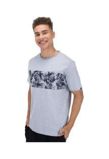 Camiseta O'Neill Estampada Floral Stripe - Masculina - Cinza