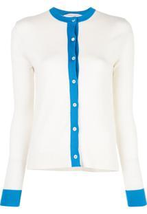 Carolina Herrera Cardigan Com Contraste - Branco