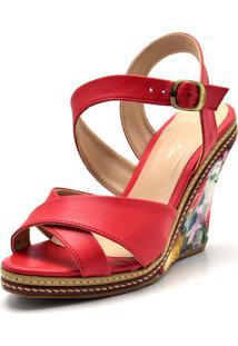 Sandália Anabela Sapatotop Shoes Vermelha