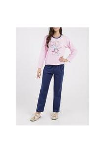 Pijama Moletom Feminino Rosa Pink/Azul Marinho