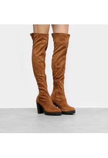 Bota Over The Knee Moleca Tratorada Feminina - Feminino-Caramelo