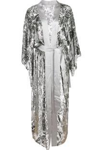 Fleur Du Mal Fil Coupe Silk Kimono - Cinza