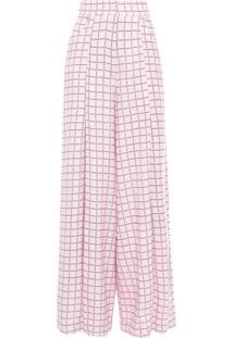 Calça Feminina Pantalona Xadrez - Rosa