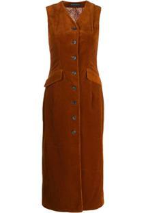 Etro Vestido Veludo Cotelê Com Abotoamento - Marrom