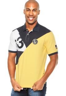 Camisa Polo Nautica Numeral Amarelo/Azul