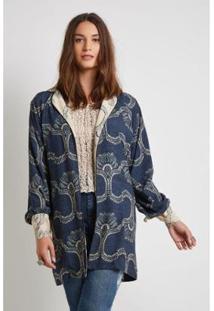Kimono Mix Estampa Marquesa Sacada Feminino - Feminino-Azul