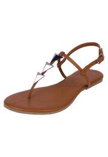 Sandália Rasteira Pirâmide Mercedita Shoes Caramelo