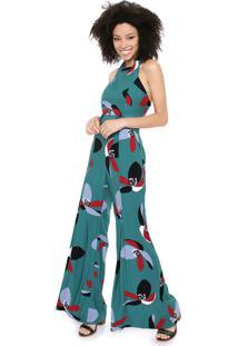 Macacão Maria Filó Pantalona Floral Verde