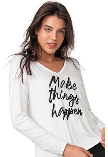 Blusa Enfim Lettering Aplicaã§Ãµes Off-White - Off White - Feminino - Viscose - Dafiti