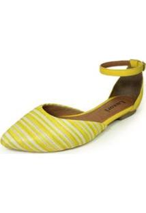 Sapatilha Bico Fino Luiza Sobreira Listras - Feminino-Amarelo