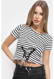Blusa Adooro Listrada Tiras Feminina - Feminino-Branco+Preto