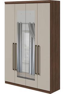 Guarda Roupa Alonzo New 4 Portas Com Espelho Imbuia Naturale/Off White 2020