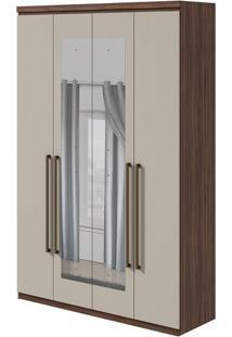 Guarda Roupa Alonzo New 4 Portas Com Espelho Imbuia Naturale/Off White