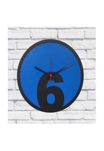 Relógio De Parede Sala Madeira Básico 6 Cor Azul 30X30X2Cm