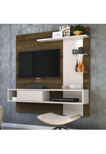 Painel Para Tv Atlântico Até 55 Polegadas Canela Rústico/Off White - Colibri Móveis