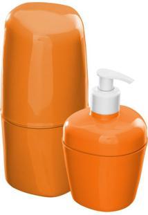 Kit Acessórios Para Banheiro Plástico 2 Peças Astra Tangerina