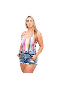 Body Suplex Feminino Regata Collant Listrado