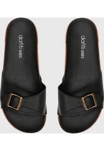 Rasteira Birken Dafiti Shoes Fivela Preta - Preto - Feminino - Dafiti